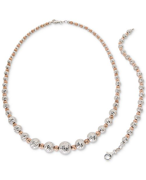Beaded Jewelry Set in Sterling Silver & 18k Rose Gold-Plated Sterling Silver, Created for Macy's