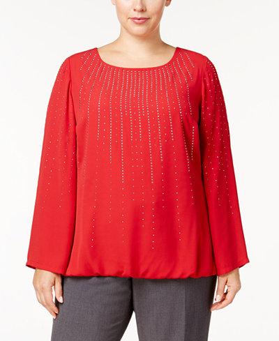 Alfani Plus Size Embellished Blouson Top, Created for Macy's