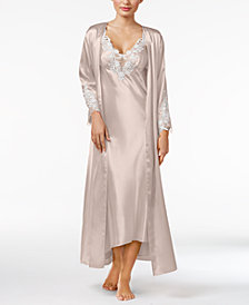 Flora by Flora Nikrooz Stella Satin Venise Trim Gown and Robe Separates