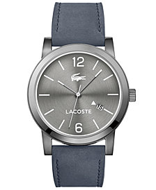Lacoste Men's Metro Gray Suede Leather Strap Watch 42mm