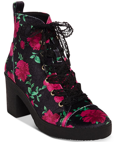 Betsey Johnson Tilde Floral Lace-Up Booties
