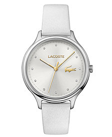 Lacoste Women's Constance White Pearlized Leather Strap Watch 38mm