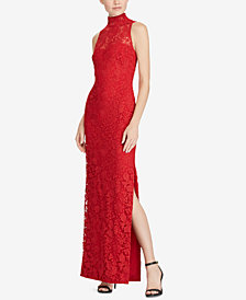 Lauren Ralph Lauren Lace Mock-Neck Gown