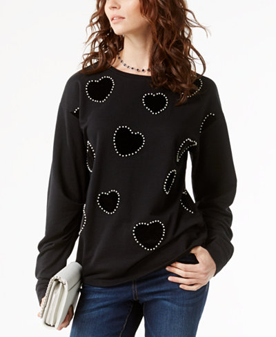 INC International Concepts Velvet-Contrast Faux-Pearl Sweatshirt, Created for Macy's