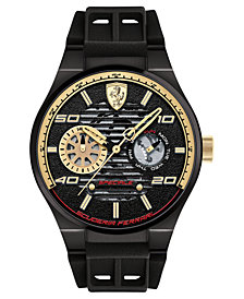 Ferrari Men's Speciale Multi Black Silicone Strap Watch 44mm