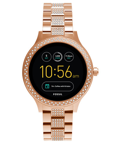 Fossil Q Women's Venture Gen 3 Rose Gold-Tone Stainless Steel Touchscreen Smart Watch 42mm
