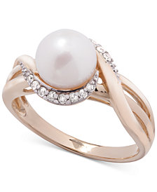 Cultured Freshwater Pearl (7mm) & Diamond (1/10 ct. t.w.) Ring in 14k Gold