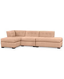 Roxanne II Performance Fabric 3-Pc. Modular Sofa with Bumper and Chaise - Custom Colors, Created for Macy's