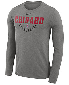 Nike Men's Chicago Bulls Dri-FIT Cotton Practice Long Sleeve T-Shirt
