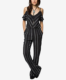 O'Neill Juniors' Yolanda Striped Cold-Shoulder Jumpsuit