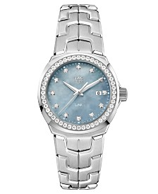 TAG Heuer Women's Swiss LINK Diamond (3/4 ct. t.w.) Stainless Steel Bracelet Watch 32mm