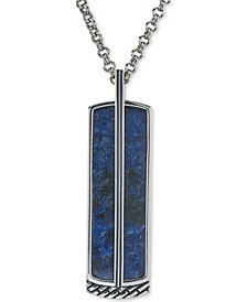 Esquire Men's Jewelry Sodalite Pendant Necklace in Sterling Silver, Created for Macy's