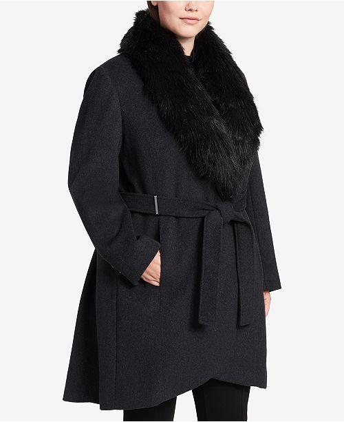 Calvin Klein Plus Size Faux-Fur-Trim Walker Coat