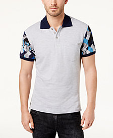 Versace Men's Printed-Sleeve Polo