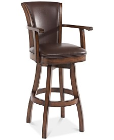 """Raleigh Arm 30"""" Bar Height Swivel Wood Barstool in Chestnut Finish and Kahlua Faux Leather"""
