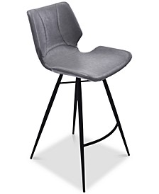 "Zurich 26"" Counter Height Metal Barstool in Vintage Gray Faux Leather and Black Metal Finish"