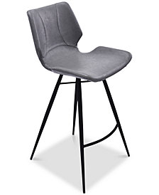 """Zurich 26"""" Counter Height Metal Barstool in Vintage Gray Faux Leather and Black Metal Finish"""