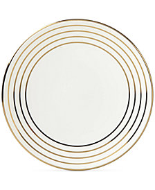 kate spade new york Charles Lane™ Gold-Tone Stripe Accents Plate, Created for Macy's