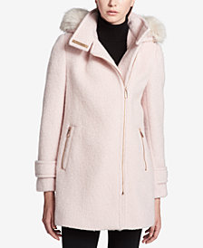 Calvin Klein Faux-Fur-Trim Asymmetrical Coat