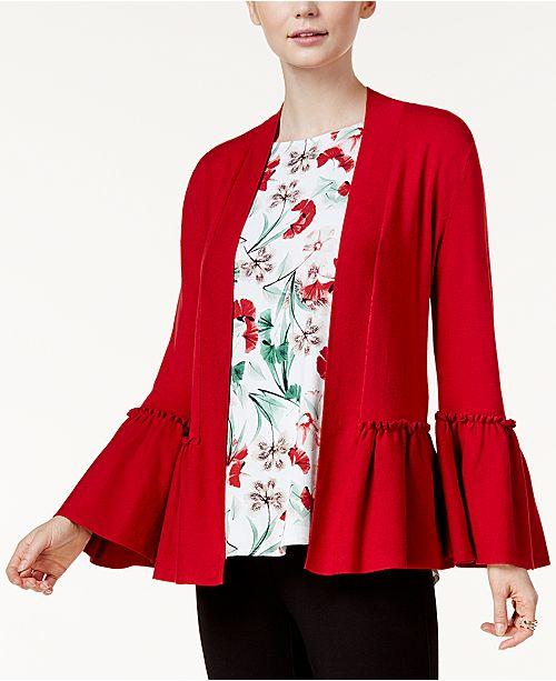 Alfani Petite Ruffled Open-Front Cardigan, Created for Macy's