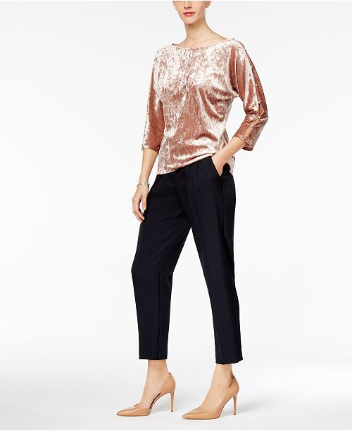 Cable & Gauge Embellished Velvet Top & NY Collection Metallic-Pinstriped Pleated Pants