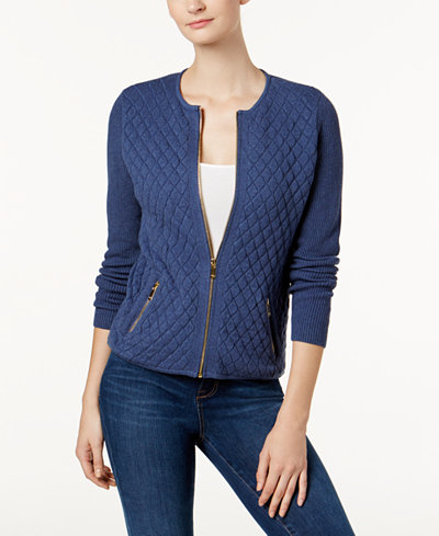 Charter Club Petite Cotton Quilted Zip-Up Sweater, Created for ...