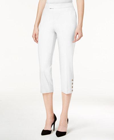 Charter Club Petite Button-Hem Capri Pants, Created for Macy's