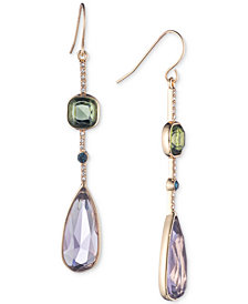 Lauren Ralph Lauren Gold-Tone Clear & Colored Crystal Linear Drop Earrings