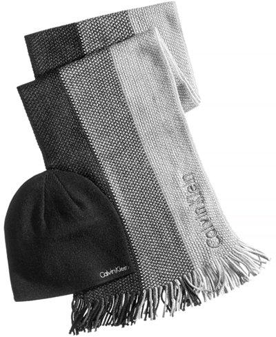 Calvin Klein Men's Ombré Scarf & Hat Set