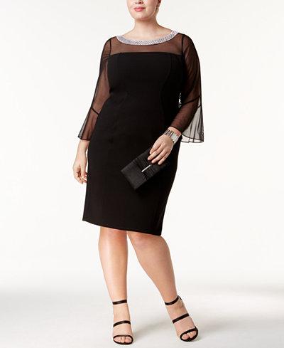 Alex Evenings Plus Size Embellished Illusion Dress