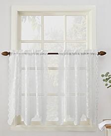 "Alison Floral Lace 58"" x 36"" Rod-Pocket Tier Curtain Pair"