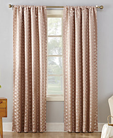 "CLOSEOUT! Sun Zero Atticus Metallic Geometric Jacquard 52"" x 84"" Blackout Lined Rod-Pocket Curtain Panel"