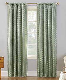 "CLOSEOUT! Sun Zero Atticus Metallic Geometric Jacquard 52"" x 95"" Blackout Lined Rod-Pocket Curtain Panel"