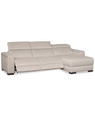 Furniture Nevio 3 Pc. Fabric Sectional Sofa With Chaise, 2 Power Recliners  And Articulating Headrests, Created For Macyu0027s   Furniture   Macyu0027s