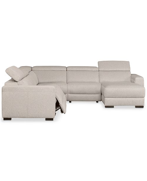 Furniture Nevio 5 Pc Fabric Sectional Sofa With Chaise 2