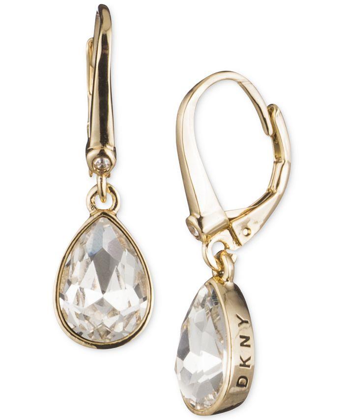 DKNY - Crystal Logo Teardrop Drop Earrings