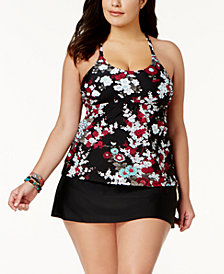 Island Escape Plus Size Zen Gardens Printed Underwire Tankini Top & Tummy-Control High-Waist Swim Skirt, Created for Macy's