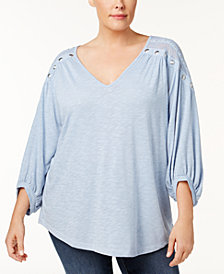 Love Scarlett Plus Size Lace-Yoke Studded Top