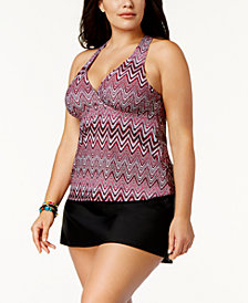 Island Escape Plus Size ZigZag Shores Printed H-Back Underwire Tankini Top & Tummy-Control Swim Skirt, Created for Macy's