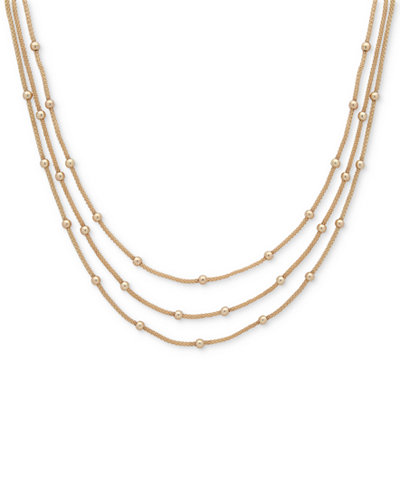 Anne Klein Gold-Tone Stationed Bead Triple-Row Necklace