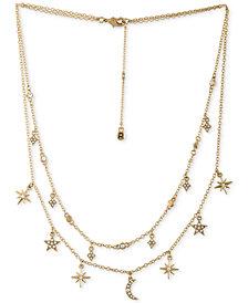 RACHEL Rachel Roy Gold-Tone Crystal Celestial Double-Layer Necklace
