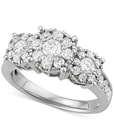 Diamond Triple Halo Cluster Ring (1-1/2 ct. t.w.) in 14k White Gold