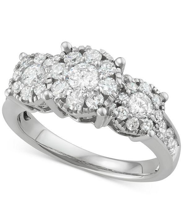 Macy's Diamond Triple Halo Cluster Ring (1-1/2 ct. t.w.) in 14k White Gold