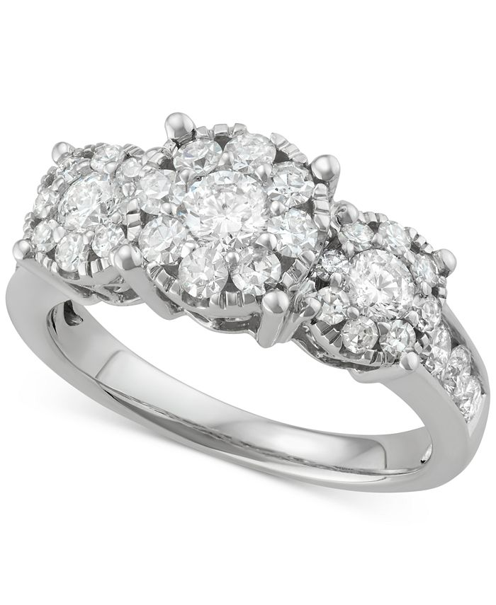 Macy's - Diamond Triple Halo Cluster Ring (1-1/2 ct. t.w.) in 14k White Gold