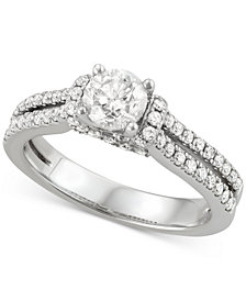 Diamond Split Shank Engagement Ring (1-1/4 ct. t.w.) in 14k White Gold