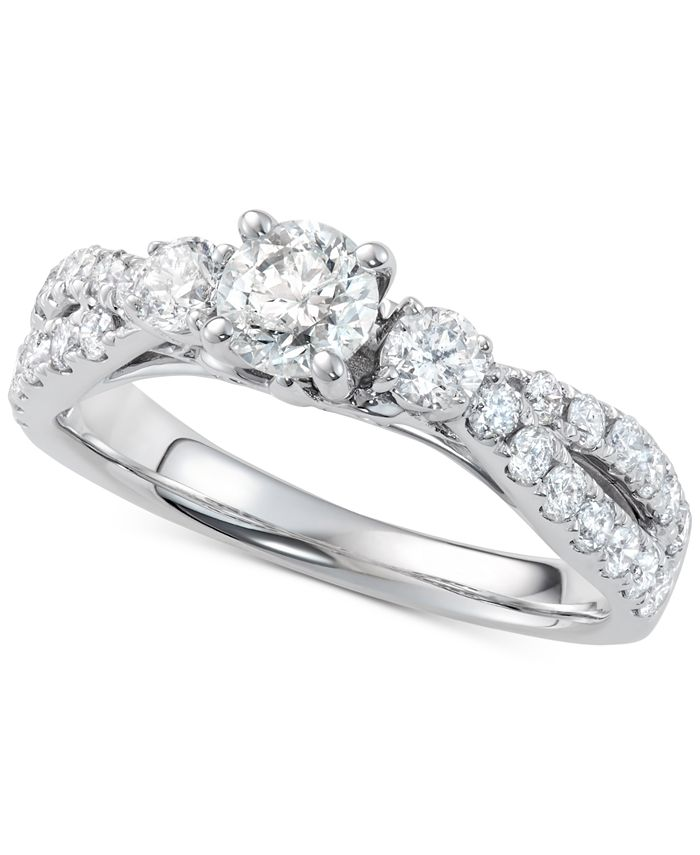 Macy's - Diamond Twist Engagement Ring (1-1/4 ct. t.w.) in 14k White Gold