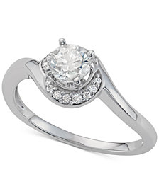 Diamond Crescent Halo Engagement Ring (5/8 ct. t.w.) in 14k White Gold