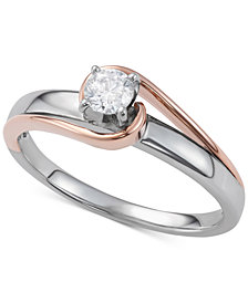 Diamond Two-Tone Engagement Ring (1/4 ct. t.w.) in 14k White and Rose Gold