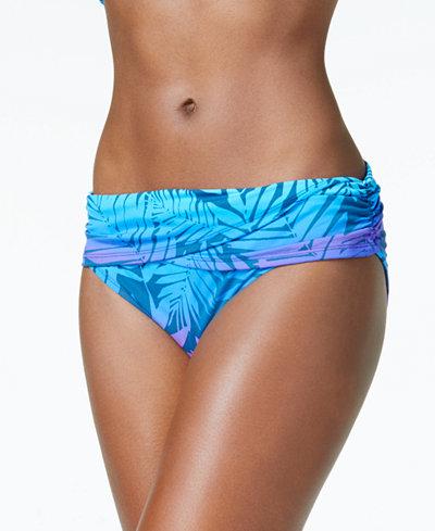 Bleu by Rod Beattie Palm-Print Foldover Bikini Bottoms