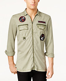 I.N.C. Men's Zip-Front Patch Shirt, Created for Macy's